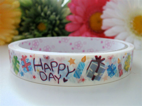 Kawaii,Japanese,Deco,Tape,-,Happy,Day,Presents,Medium,Roll,Stationery,Sticker,Supplies,Commercial,kawaii,packaging,gift_wrap,japanese,deco_tape,japanese_deco_tape,kawaii_deco,decorative_tape,kawaii_sticker,present_gift_package,happy_day,birthday_candle,zakka_colorful