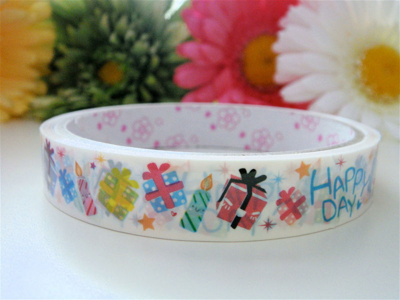 Kawaii Japanese Deco Tape - Happy Day Presents - Medium Roll - Stationery Sticker - product images  of