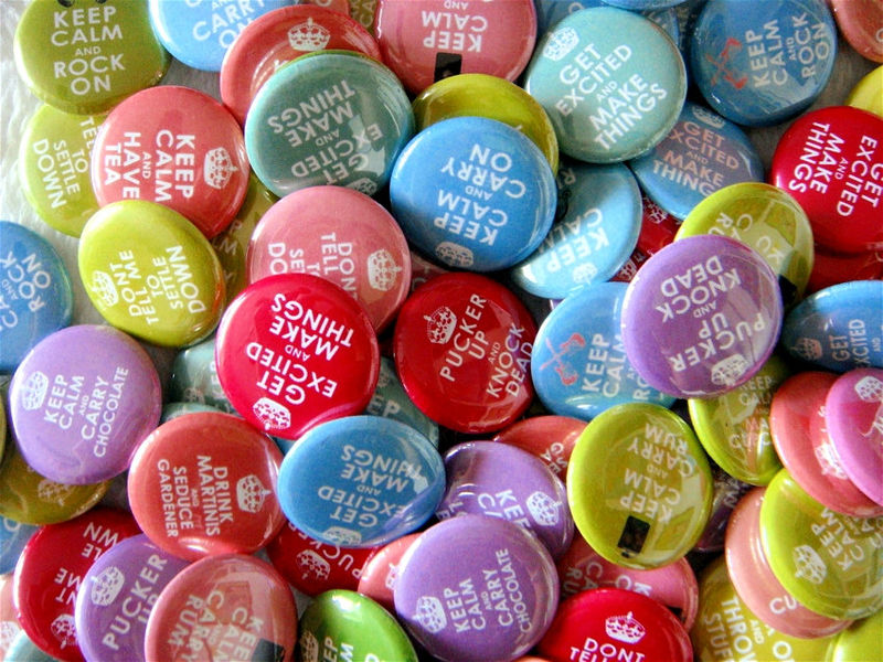 Keep Calm Humor Buttons - Set of 48 - 1 inch Pinback Buttons or Flat Back Buttons - product images  of 