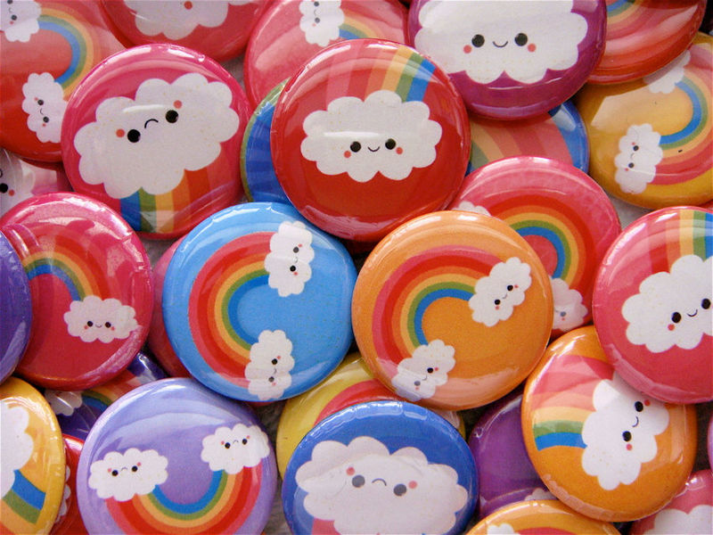 Kawaii Pinback Buttons 1 inch - Rainbow Happy Clouds - Set of 48 - product images  of 