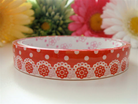 Kawaii,Deco,Tape,-,Red,and,White,Lace,Ribbon,Medium,Roll,Japanese,Stationery,Supplies,Commercial,kawaii,packaging,gift_wrap,zakka,japanese_deco_tape,kawaii_sticker,kawaii_deco_tape,stationery,lace,ribbon,red_white,self_adhesive,decorative_deco_tape,deco_tape