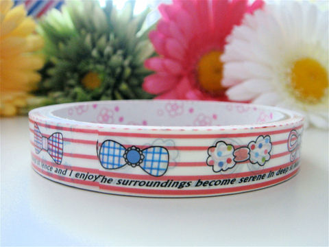Kawaii,Deco,Tape,-,Pretty,Ribbon,Bows,Medium,Roll,Japanese,Stationery,Supplies,Commercial,kawaii,packaging,gift_wrap,zakka,japanese_deco_tape,decorative_tape,kawaii_sticker,kawaii_deco_tape,red_pink,ribbon_lace,bows_hair_gift,girly_girl,rainbow_stripes,deco_tape