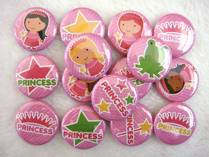 Sweet Pink Princess - Set of 15 - 1 inch Buttons - Pinback or Flat Back - product images  of