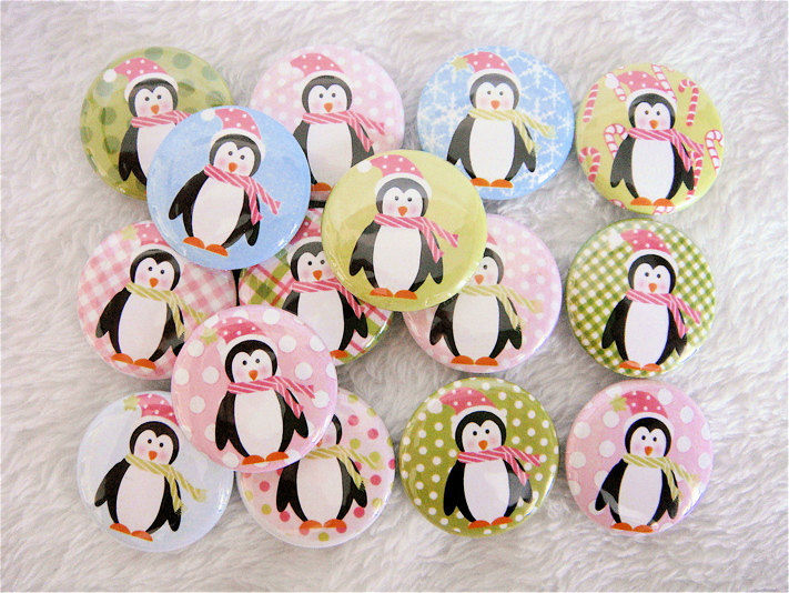 15 Pastel Penguins Winter Buttons - 1 inch Flat Back Buttons or Pinback Buttons - product images  of