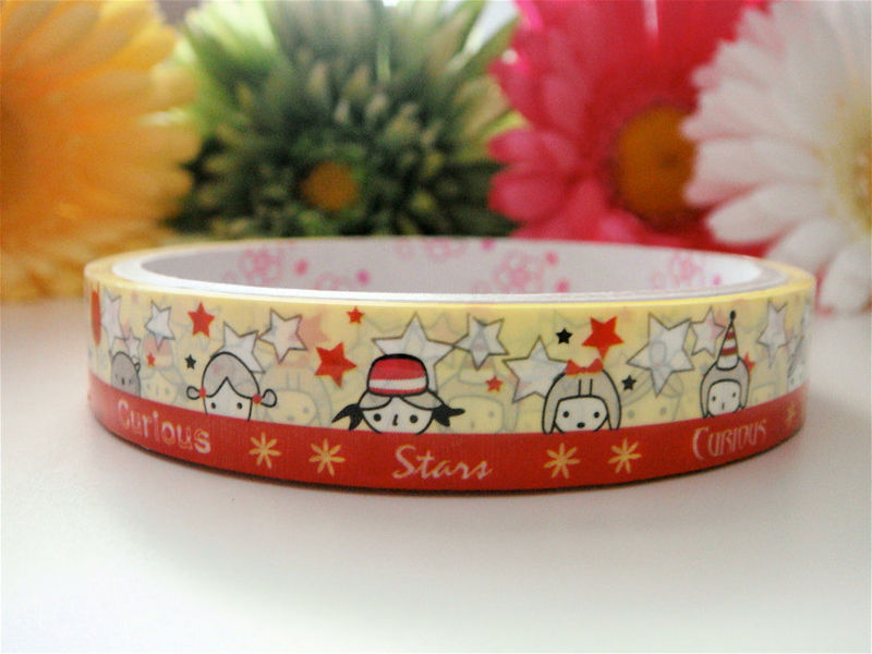 Kawaii Japanese Deco Tape - Curious Children Whimsical Spring - Medium Roll Cute Sticker Zakka - product images