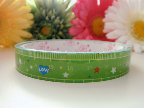 Kawaii,Japanese,Deco,Tape,-,Spring,Green,Ruler,Teacher,Love,Medium,Roll,Supplies,Commercial,packaging,deco_tape,zakka,japanese_deco_tape,kawaii_deco,decorative_tape,cute_kawaii_japanese,masking_tape,scrapbooking,teacher_gift,spring_green,ruler_school,nerd_geekery