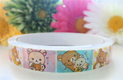 Rilakkuma,Deco,Tape,-,Pastel,Squares,Sanx,Kawaii,Japanese,Medium,Roll,Supplies,Commercial,packaging,gift_wrap,deco_tape,japanese_deco_tape,kawaii_deco,decorative_tape,bear,rilakkuma,cute_kawaii_japanese,rilakkuma_sticker,sanx,rilakkuma_deco_tape,pastel