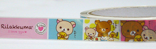 Rilakkuma Deco Tape - Pastel Squares - Sanx Kawaii Japanese - Medium Roll - product images  of