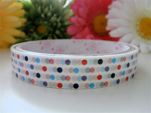 Sticker,Deco,Tape,Kawaii,-,Pastel,Polka,Dots,Medium,Roll,Cute,Japanese,Packaging,Zakka,Supplies,Commercial,packaging,japanese_deco_tape,kawaii_sticker,kawaii_deco_tape,kawaii_cute_japanese,scrapbooking,embellishment,pastel_colors,polka_dots,spring,easter,patterned,washi_tape,deco_tape