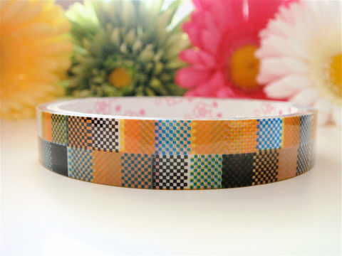 Sticker,Deco,Tape,Kawaii,-,Vintage,Inspired,Checkerboard,Squares,Medium,Roll,Cute,Japanese,Packaging,Zakka,Supplies,Commercial,packaging,japanese_deco_tape,kawaii_sticker,kawaii_deco_tape,decorative_deco_tape,kawaii_cute_japanese,scrapbooking,embellishment,vintage_inspired,squares,kraft_brown,hipster,checkerboard,deco_tape