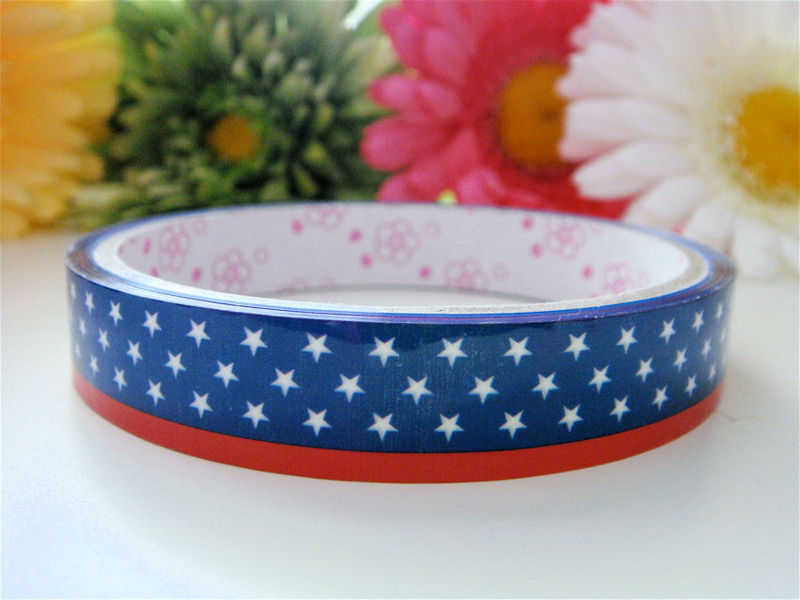 Sticker Deco Tape Kawaii - Red, White, and Blue Stars Fourth of July - Medium Roll - Cute Japanese Packaging Zakka - product images