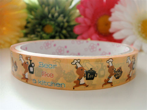 Kawaii,Japanese,Deco,Tape,-,Bears,in,the,Kitchen,Baker,Medium,Roll,Cute,Sticker,Zakka,Supplies,Commercial,deco_tape,zakka,japanese_deco_tape,kawaii_deco,decorative_tape,kawaii_sticker,cute_kawaii_japanese,embellishment,bears,kitchen,craft_brown,baker_cooking,kawaii_animals