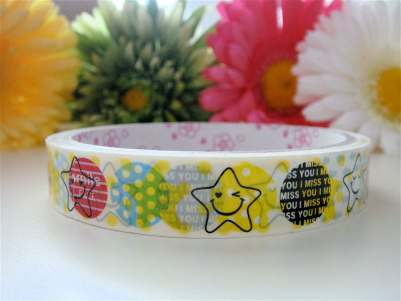 Kawaii Japanese Deco Tape - Stars, Polka Dots, and Smiley Faces - Medium Roll Cute Sticker Zakka - product images