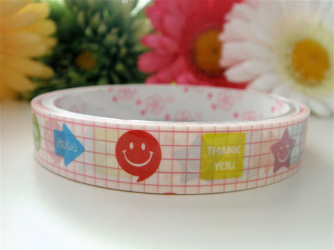 Kawaii,Japanese,Deco,Tape,-,Smiley,Face,Love,Thank,You,Medium,Roll,Cute,Sticker,Zakka,Supplies,Commercial,packaging,deco_tape,zakka,japanese_deco_tape,kawaii_deco,decorative_tape,kawaii_sticker,cute_kawaii_japanese,pink,embellishment,smiley_face,stars,thank_you