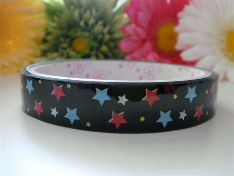 Kawaii,Japanese,Deco,Tape,-,Baby,Blue,and,Pink,Stars,Black,Medium,Roll,Cute,Sticker,Zakka,Supplies,Commercial,packaging,deco_tape,zakka,japanese_deco_tape,kawaii_deco,decorative_tape,kawaii_sticker,cute_kawaii_japanese,black,stars,baby_blue,pink,embellishment