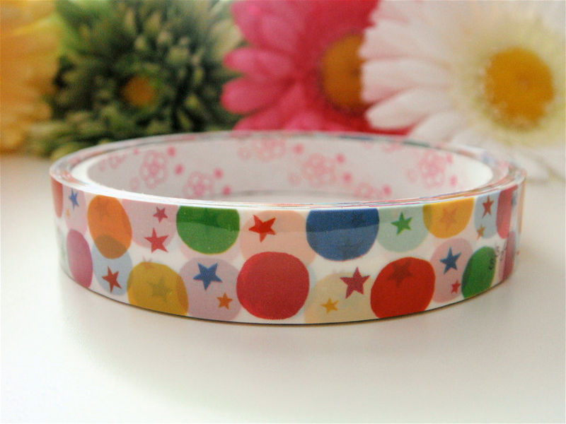 Kawaii Japanese Deco Tape - Rainbow Polka Dot Love Stars - Medium Roll - product images