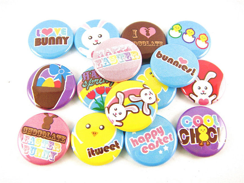 Easter Chicks Bunnies Eggs Pastel Buttons Basket (Set of 15) - Pinback or Flat Back Buttons - product images  of