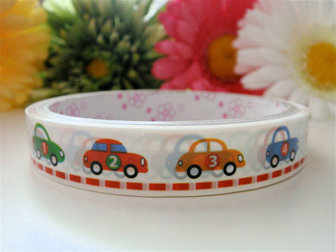 Kawaii,Japanese,Deco,Tape,-,Cars,in,Rainbow,Medium,Roll,Supplies,Commercial,packaging,deco_tape,zakka,japanese_deco_tape,kawaii_deco,decorative_tape,cute_kawaii_japanese,rainbow,stripes,masking_tape,scrapbooking,boys_vehicles,race_cars