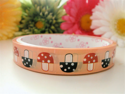 Kawaii,Japanese,Deco,Tape,-,Mushroom,Woodland,Forest,Medium,Roll,Supplies,Commercial,packaging,deco_tape,zakka,japanese_deco_tape,kawaii_deco,decorative_tape,cute_kawaii_japanese,masking_tape,mushrooms,woodland_animals,forest,mushroom_decor,fungi_fungus