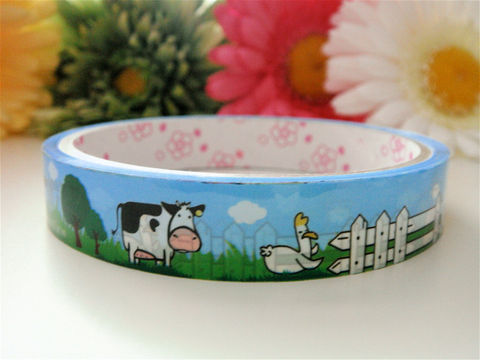 Japanese,Deco,Tape,-,Farm,Animals,Cute,Cow,Medium,Supplies,Commercial,packaging,deco_tape,zakka,japanese_deco_tape,kawaii_deco,decorative_tape,cute_kawaii_japanese,masking_tape,scrapbooking,farm_animals,baby_blue,cow,chicken