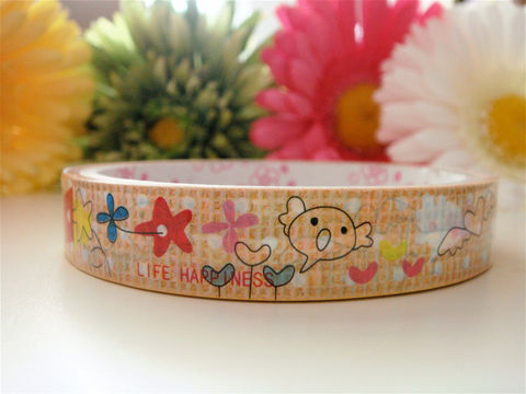 Kawaii,Deco,Tape,-,Woodland,Animals,and,Hearts,Supplies,Commercial,packaging,gift_wrap,japanese_deco_tape,kawaii_sticker,kawaii_deco_tape,decorative_deco_tape,woodland_forest,animals_owl_bird,hearts_flowers_cloud,beige_brown_tan,happiness_happy_life,kawaii_cute_japanese,deco_tape