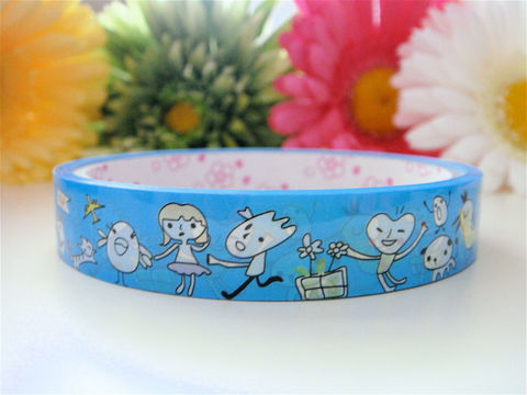Kawaii,Deco,Tape,-,Whimsical,Hearts,Doodle,Supplies,Commercial,packaging,deco_tape,zakka,japanese_deco_tape,kawaii_deco,decorative_tape,cute_kawaii_japanese,doodle_drawing,baby_blue_sky,hearts_love,whimsical_whimsy,kitsch_geekery,woodland_animals