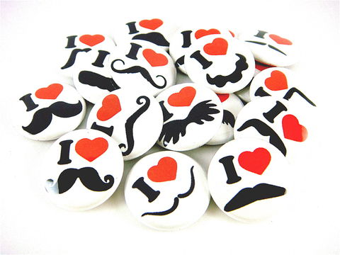 Mustache,Love,and,Hearts,in,White,(Set,of,18),-,1,inch,Pinback,Buttons,or,Flat,Back,Cabochons
