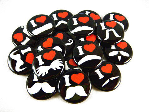 Mustache,Love,and,Hearts,in,Black,(Set,of,18),-,Pinback,Buttons,or,Flat,Back,pinback_buttons, mustache, mustache_love, moustache, flat_back_buttons, cabochons, heart, love, party_favors