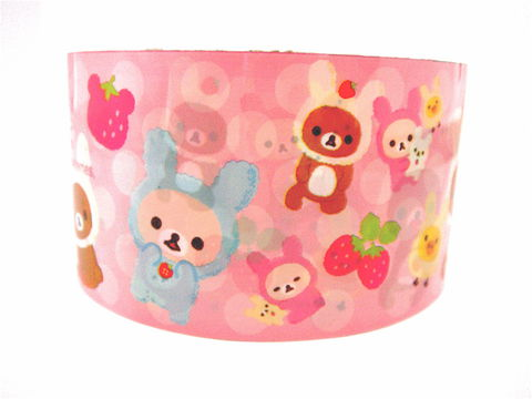 Kawaii,Deco,Tape,Japanese,-,Rilakkuma,Strawberry,Pink,Large,Roll,Sweets,rilakkuma, relax_bear, deco_tape, kawaii, japanese, cute, decorative_tape, washi_tape, san_x