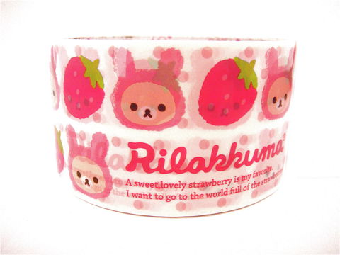 Kawaii,Deco,Tape,Japanese,-,Rilakkuma,Strawberries,Large,Sweets,rilakkuma, relax_bear, deco_tape, kawaii, japanese, cute, decorative_tape, washi_tape, san_x