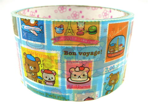 Rilakkuma,Deco,Tape,-,Bonjour,Travel,and,Stamps,Large,Kawaii,rilakkuma, bonjour_rilakkuma, relax_bear, deco_tape, kawaii, japanese, cute, decorative_tape, washi_tape, san_x