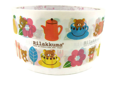Kawaii,Deco,Tape,Japanese,-,Rilakkuma,Tea,Time,Large,Cute,Packing,rilakkuma, relax_bear, deco_tape, kawaii, japanese, cute, decorative_tape, washi_tape, san_x