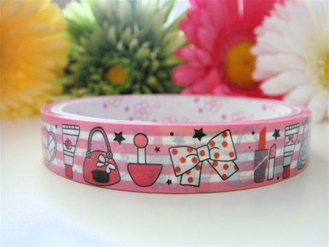 Kawaii,Deco,Tape,-,Makeup,and,Bows,Medium,Japanese,Stationery,Supplies,Commercial,kawaii,packaging,gift_wrap,zakka,japanese_deco_tape,decorative_tape,kawaii_sticker,kawaii_deco_tape,red_pink,ribbon_lace,bows_hair_gift,girly_girl,rainbow_stripes,deco_tape
