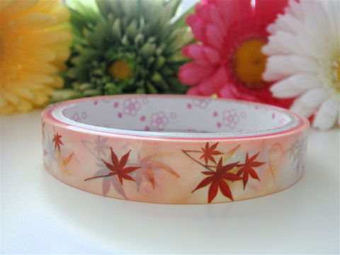 Kawaii,Deco,Tape,-,Autumn,Leaves,Medium,Japanese,Stationery,Supplies,Commercial,kawaii,packaging,gift_wrap,zakka,packing_tape,cute_tape,washi_tape,deco_tape,japanese_tape,airmail_tape,kawaii_stationery