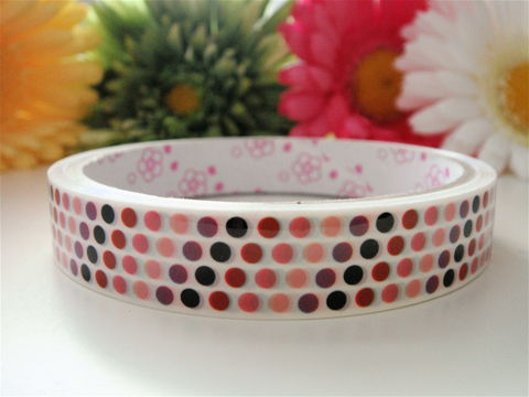 Kawaii,Deco,Tape,-,Polka,Dots,Medium,Japanese,Stationery,Supplies,Commercial,kawaii,packaging,gift_wrap,zakka,packing_tape,cute_tape,washi_tape,deco_tape,japanese_tape,airmail_tape,kawaii_stationery