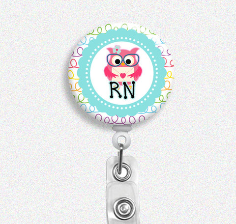 Rainbow,Doodle,Owl,Nurse,Badge,Holder,(Belt,Clip,or,Swivel,Spring,Clip),Reel,owl nurse, badge reel, badge holder, nurse badge holder, nurse badge reel, id holder, nurse lanyard, nurses rock