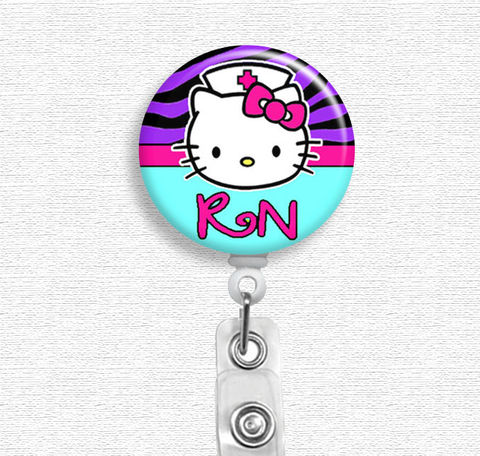 Hello,Kitty,Nurse,Badge,Holder,(Belt,Clip,or,Swivel,Spring,Clip),Reel,hello kitty nurse, badge reel, badge holder, nurse badge holder, nurse badge reel, id holder, nurse lanyard, nurses rock