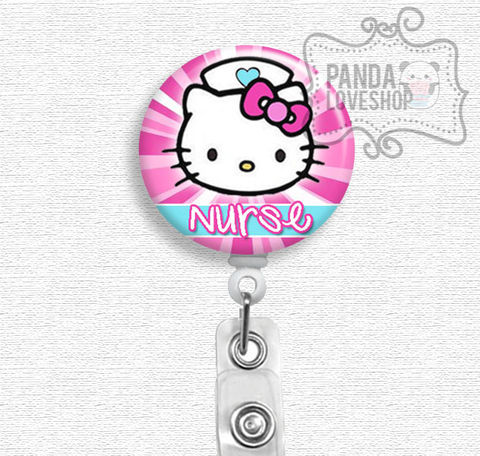 Hello,Kitty,Nurse,Badge,Reel,,Holder,,Reel,hello kitty nurse, badge reel, badge holder, nurse badge holder, nurse badge reel, id holder, nurse lanyard, nurses rock