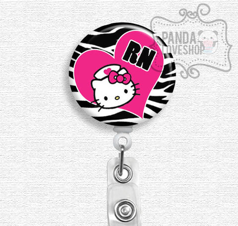 Hello,Kitty,Nurse,Badge,Reel,Zebra,Stripe,,Holder,,hello kitty nurse, badge reel, badge holder, nurse badge holder, nurse badge reel, id holder, nurse lanyard, nurses rock, zebra stripes, animal print