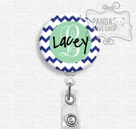 Navy,Chevron,with,Mint,Personalized,Nurse,Badge,Holder,,Custom,Reel,personalized badge reel, custom badge reel, badge reel, badge holder, nurse badge holder, nurse badge reel, id holder, nurse lanyard, nurses rock