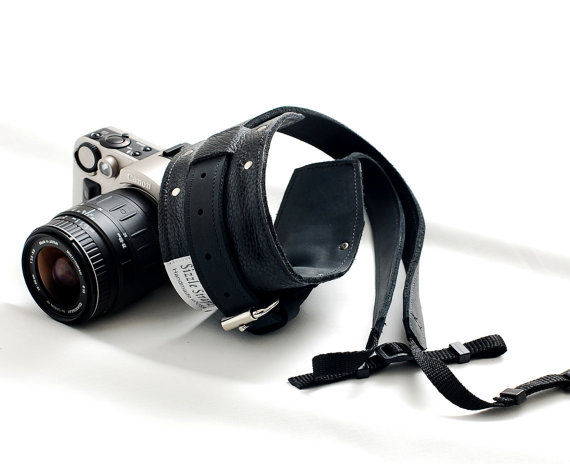 Leather camera strap for men and women -  for DSLR camera - Black - product images  of