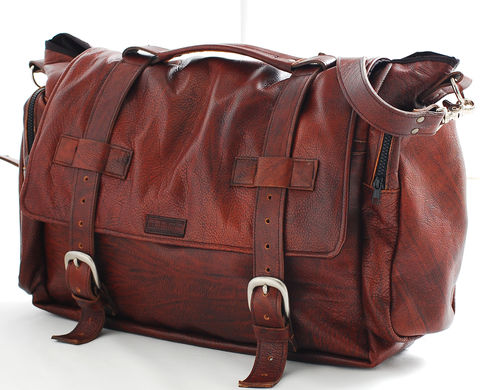 Handmade Leather messenger bag handmade 22 inch leather cross body, leather Laptop bag or Mac Book bag , shoulder bag in Tobacco - product images  of