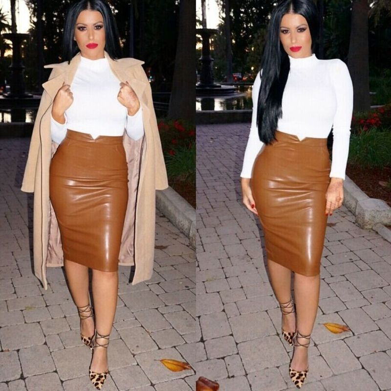 Faux Leather Pencil Skirt (Available in 2 Colors) - No Waist Boutique