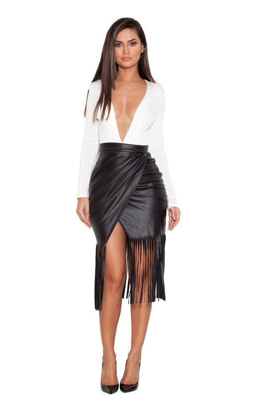 High Waist Faux Leather Fringed Skirt - No Waist Boutique