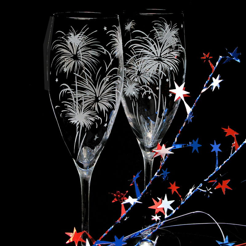 2 Fireworks Wedding Champagne Flutes, Sparkler Wedding Glasses, New Year's Eve Wedding - product images  of