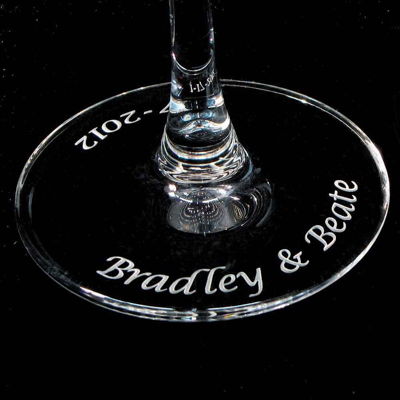Personalized Wedding Champagne Flutes Dragonfly Orchid