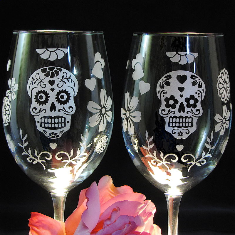 Day of the Dead Wine Glasses, Dia De Los Muertos Wine Glasses, Skull Decor for Weddings - product images  of