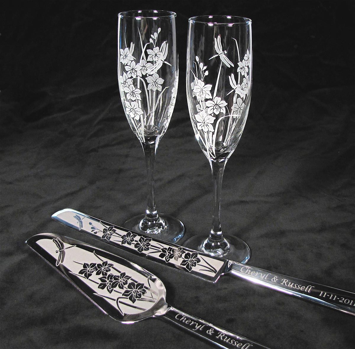 Orchid And Dragonfly Wedding Set Champagne Glasses Cake Server And