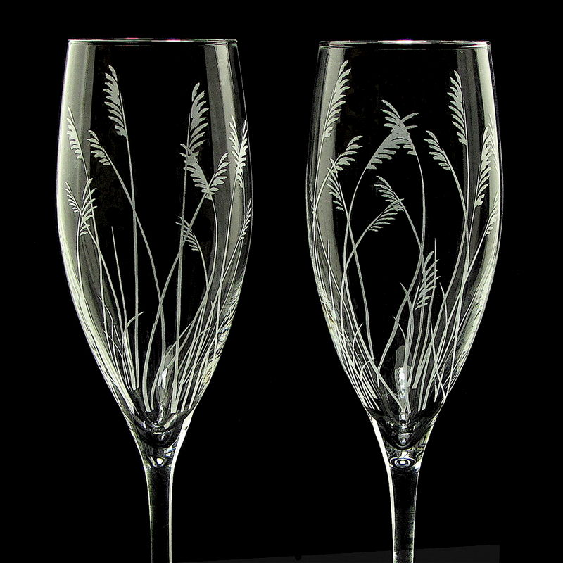 Sea Grass Champagne Glasses, Rustic Beach Wedding Toasting Flutes - product images  of