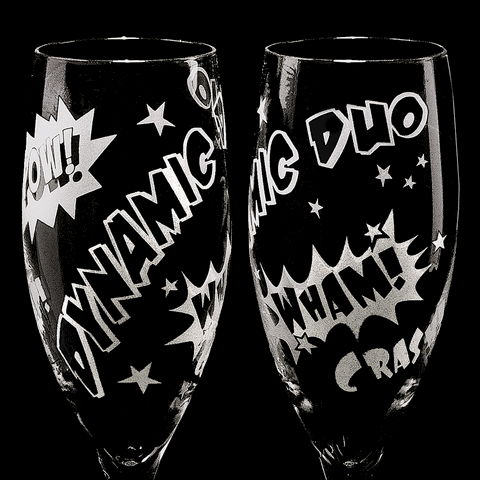 2,Superhero,Wedding,Champagne,Flutes,,Unique,Flutes,for,Comic,Book,Themed,Superhero wedding, super hero wedding, superhero themed wedding, comic book wedding, comic book geek, personalized, champagne flutes , toasting flutes, champagne glasses, wedding toast flutes, engraved, crystal, unique champagne flutes